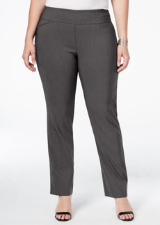 Charter Club Plus Size Tummy-Control Check-Printed Pull-On Pants, Only at Macy's