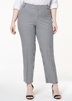 Charter Club Plus Size Tummy Control Gingham-Print Pants, Created for Macy's