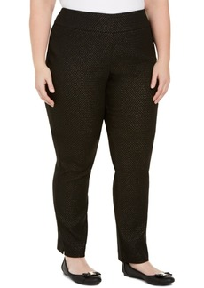 Charter Club Plus Size Tummy-Control Pull-On Jacquard Ponte Pants, Created For Macy's