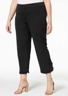 Charter Club Plus Size Tummy-Control Ruffle-Cuff Pants, Created for Macy's