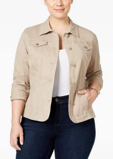 Charter Club Plus Size Twill Denim Jacket, Only at Macy's