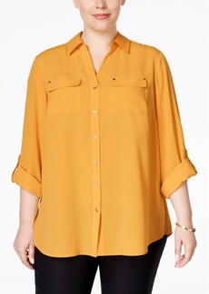Charter Club Plus Size Utility Shirt, Only at Macy's