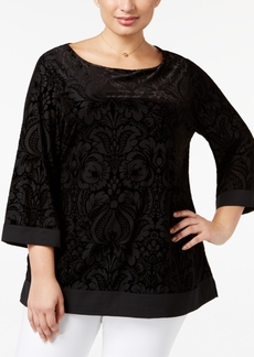 Charter Club Plus Size Velvet Burnout Tunic, Only at Macy's