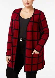 Charter Club Plus Size Windowpane Duster Cardigan, Only at Macy's