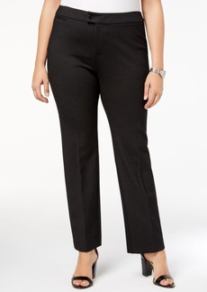 Charter Club Plus Size Windowpane Ponte Pants, Created for Macy's