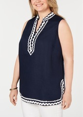 Charter Club Plus Size Woven Linen Sleeveless Top, Created for Macy's