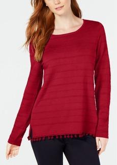 Charter Club Pom Pom-Trim Sweater, Created for Macy's