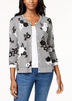 Charter Club Printed Appliqued Cardigan, Created for Macy's