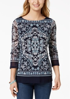 Charter Club Petite Scarf-Print Top, Created for Macy's