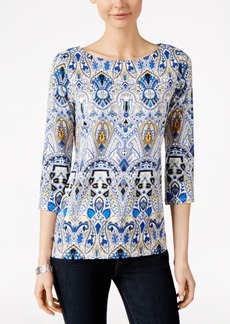 Charter Club Printed Boat-Neck Top, Only at Macy's