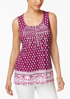 Charter Club Petite Embroidered Mixed-Print Top, Created for Macy's