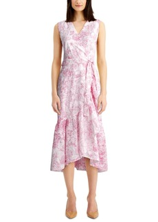 Charter Club Printed Eyelet Ruffled Faux-Wrap Dress, Created for Macy's