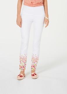 Charter Club Printed-Hem Pull-On Skinny Pants, Created for Macy's