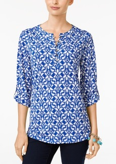 Charter Club Printed Henley Top, Only at Macy's