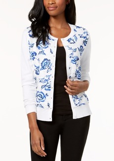 Charter Club Printed-Lace Cardigan, Created for Macy's