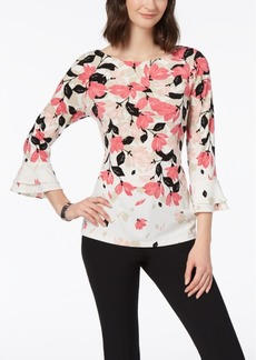 Charter Club Petite Tiered-Sleeve Printed Top, Created for Macy's