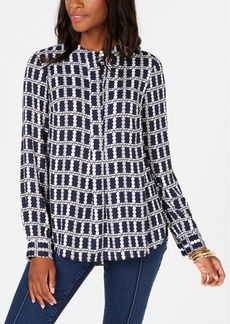 Charter Club Printed Mandarin Collar Blouse, Created for Macy's