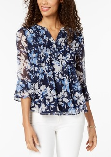 Charter Club Petite Printed Pleated Top, Created for Macy's