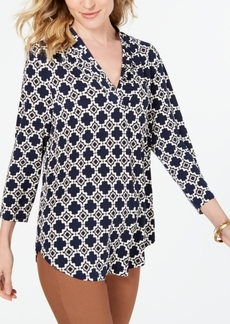 Charter Club Printed Pleat-Shoulder Top, Created for Macy's
