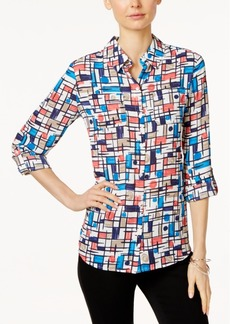 Charter Club Printed Roll-Tab Shirt, Only at Macy's