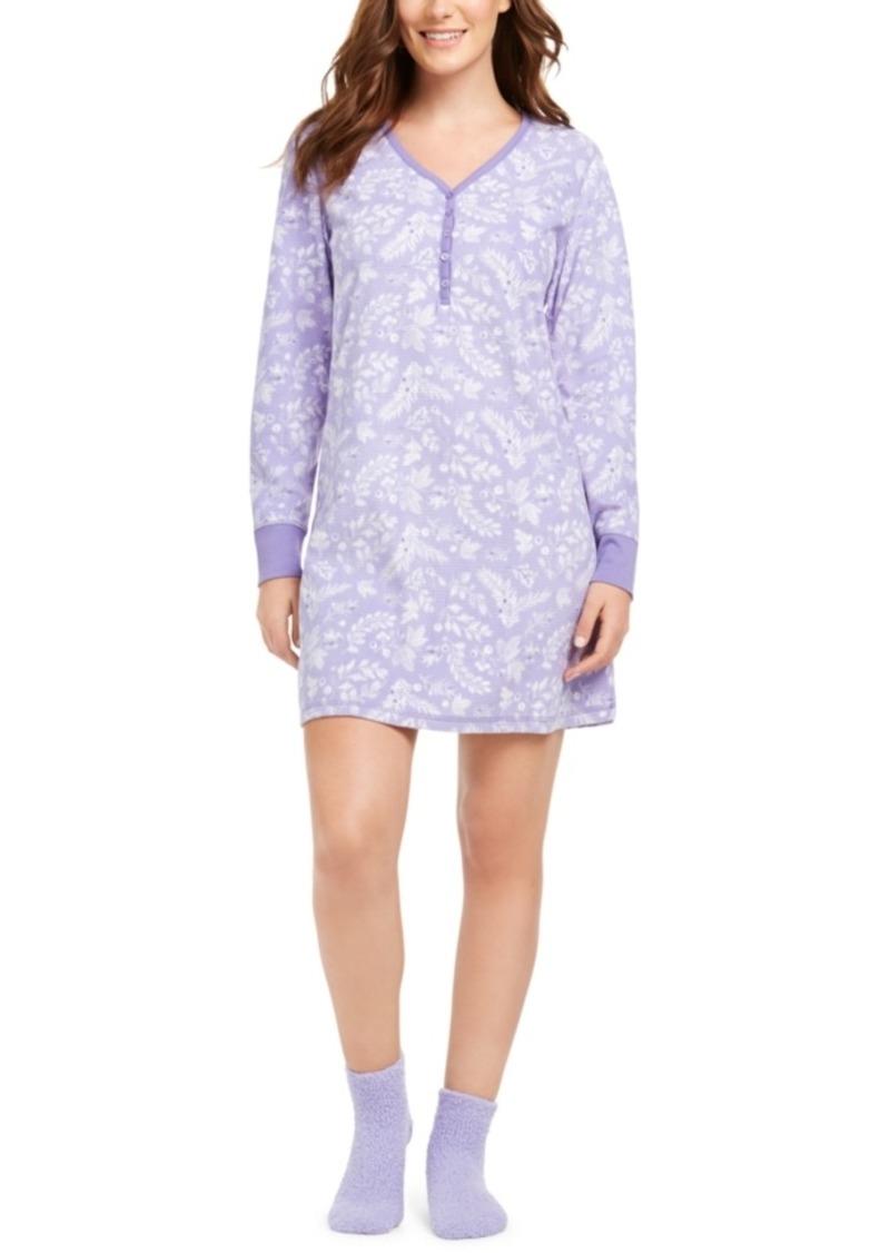 Charter Club Cozy Fleece Waffle Knit Sleepshirt Nightgown & Socks Set, Created for Macy's