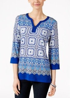 Charter Club Printed Three-Quarter-Sleeve Tunic, Only at Macy's