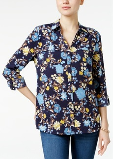 Charter Club Petite Floral-Print Roll-Tab Shirt, Created for Macy's