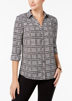 Charter Club Petite Houndstooth-Print Blouse, Created for Macy's