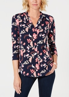 Charter Club Printed V-Neck 3/4-Sleeve Top, Created for Macy's