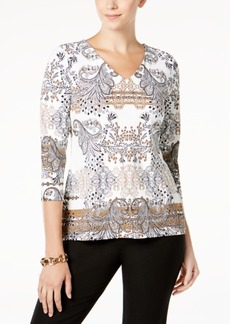 Charter Club Petite Printed Top, Created for Macy's