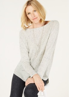 Charter Club Pure Cashmere Donegal Sweater with a Shirttail Hem, Created for Macy's