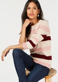 Charter Club Pure Cashmere Striped Crewneck Sweater, Created for Macy's