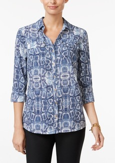 Charter Club Python-Print Utility Shirt, Only at Macy's