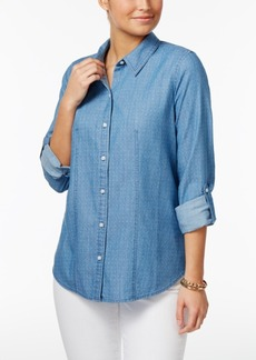 Charter Club Roll-Tab Dot-Print Shirt, Created for Macy's