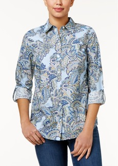 Charter Club Petite Paisley-Print Cotton Roll-Tab Shirt, Created for Macy's