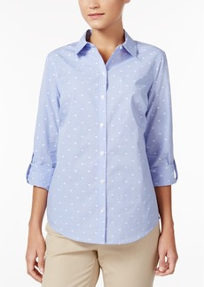 Charter Club Roll-Tab Print Shirt, Created for Macy's
