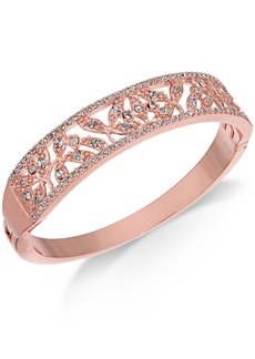 Charter Club Rose Gold-Tone Crystal Filigree Bangle Bracelet, Created for Macy's
