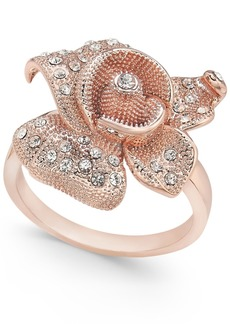Charter Club Rose Gold-Tone Crystal Flower Statement Ring, Created for Macy's