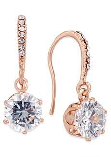 Charter Club Rose Gold-Tone Cubic Zirconia Drop Earrings, Created for Macy's