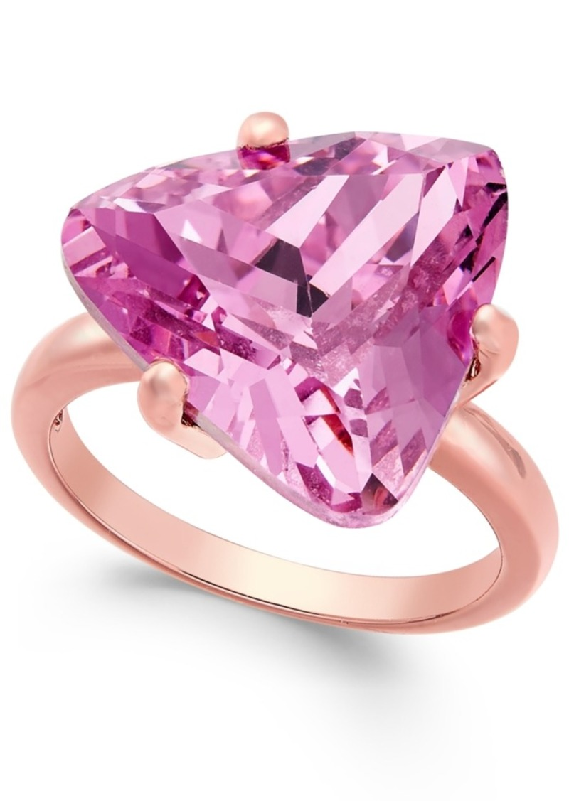 Charter Club Rose Gold-Tone Pink Stone Cocktail Ring, Only at Macy's