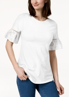 Charter Club Ruffled Eyelet-Sleeve Top, Created for Macy's
