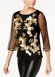 Charter Club Sequin-Embellished Illusion Top, Created for Macy's