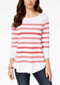 Charter Club Sequin Striped Top, Created for Macy's
