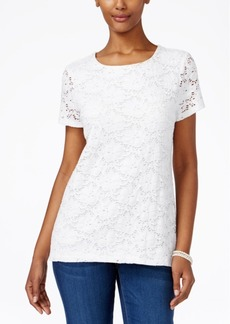 Charter Club Short-Sleeve Crochet Top, Only at Macy's