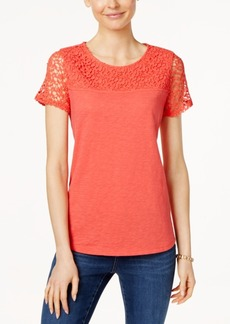 Charter Club Short-Sleeve Lace-Yoke Top, Only at Macy's