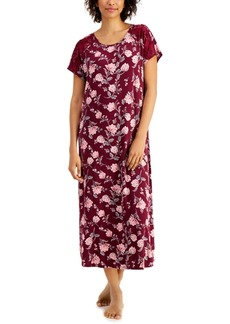 Charter Club Petite Lace-Trim Short Sleeve Maxi Nightgown, Created for Macy's
