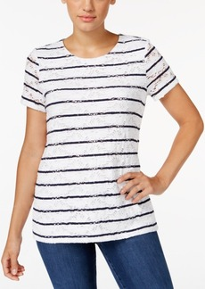 Charter Club Short Sleeve Stripe Allover Lace Top, Only at Macy's