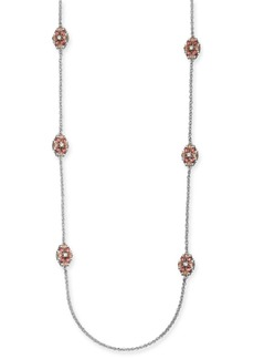 "Charter Club Silver-Tone Crystal & Stone Station Necklace, 42"" + 2"" extender, Created For Macy's"