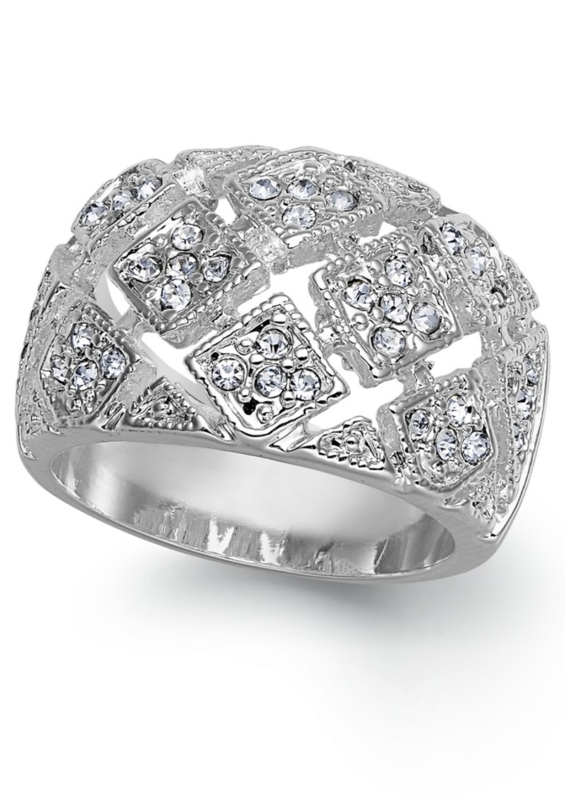 Charter Club Silver-Tone Crystal Mesh Wide Ring