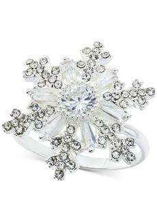 Charter Club Fine Silver Plate Crystal Snowflake Statement Ring, Created for Macy's